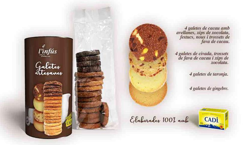 Local products Handmade cookies of Cadí butter. Brown assortment