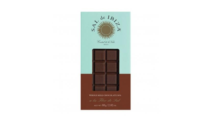 Local products Chocolate con leche y Flor de Sal Bio 80gr. Sal de Ibiza. 12un.