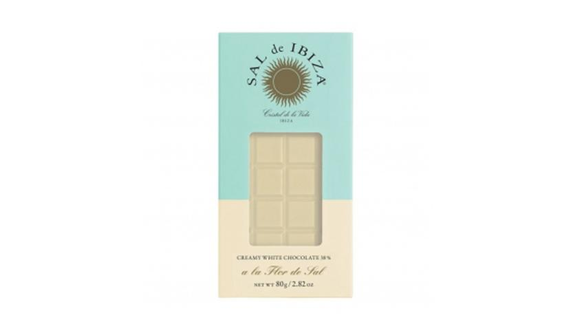 Local products Chocolate Blanco con Flor de Sal Bio 80gr. Sal de Ibiza. 12un.