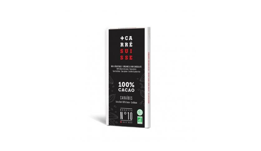 Local products Tableta Chocolate Negro 100% Caribe 80gr. Carré Suisse. 10un.