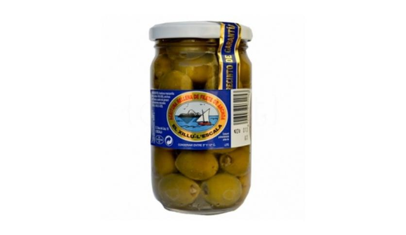 Local products Aceituna rellena de filete de anchoa 330gr. Anxoves El Xillu. 6un.